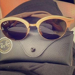 Ray Ban polarized sunglasses wooden frame